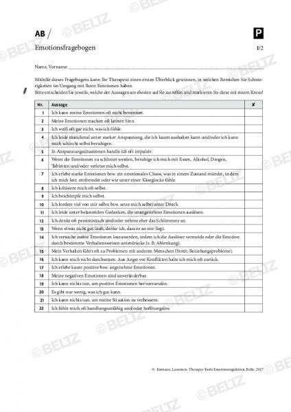 Emotionsregulation: Emotionsfragebogen