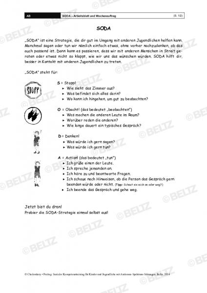 SODA – Arbeitsblatt und Wochenauftrag im Sozialen Kompetenztraining bei ASS