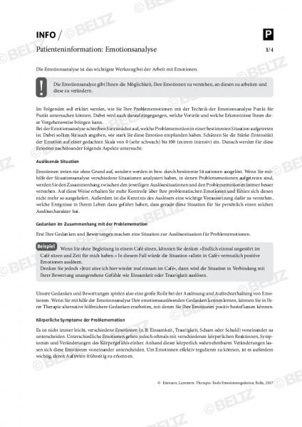 Emotionsregulation: Patienteninformation zur Emotionsanalyse