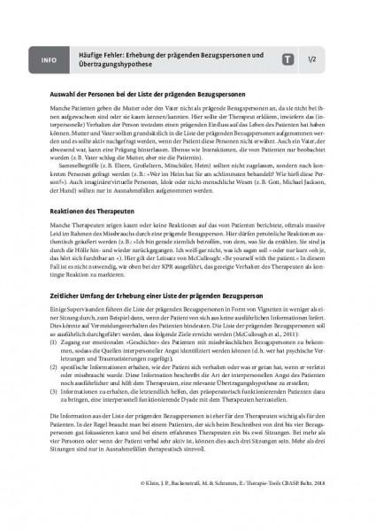 CBASP: Häufige Fehler: Erhebung der prägenden Bezugspersonen und Übertragungshypothese