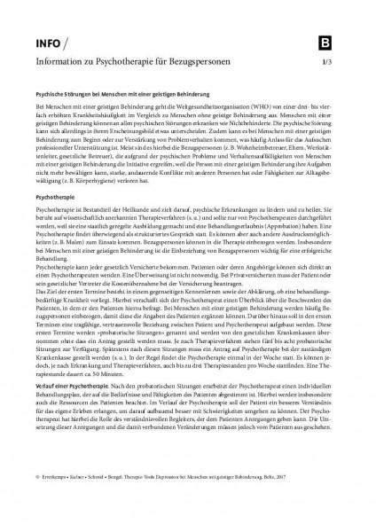 Depression und geistige Behinderung: Information zu Psychotherapie für Bezugspersonen
