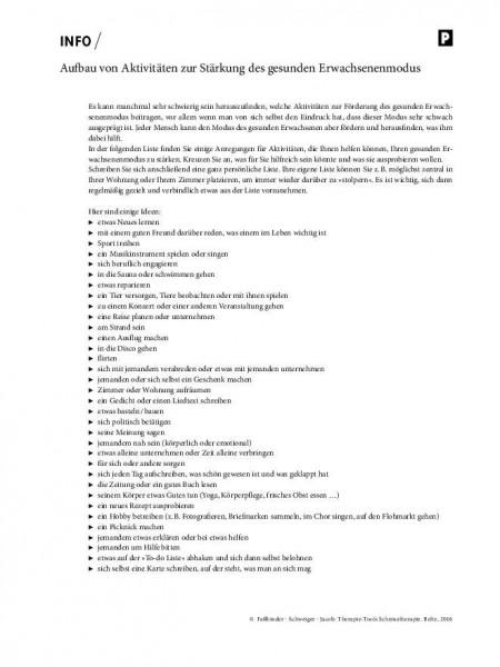 Schematherapie: Aufbau von Aktivitäten zur Stärkung des gesunden Erwachsenenmodus