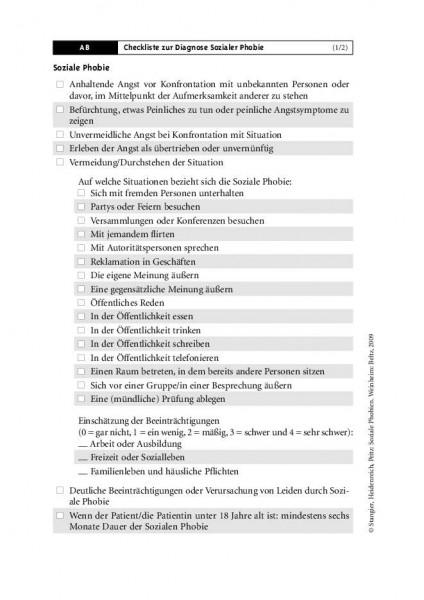 Checkliste zur Diagnose Soziale Phobie