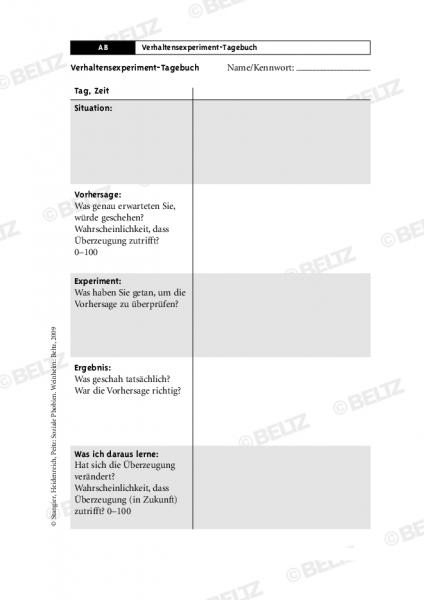 Soziale Phobie: Verhaltensexperiment-Tagebuch