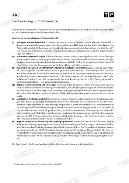 Emotionsregulation: Emotionsbezogene Problemanalyse