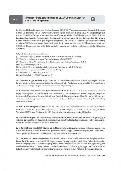 Kriterien für die Zertifizierung als CBASP-Co-Therapeut für Sozial- und Pflegeberufe