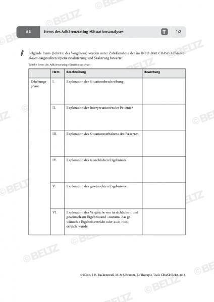 CBASP: Items des Adhärenzrating »Situationsanalyse«