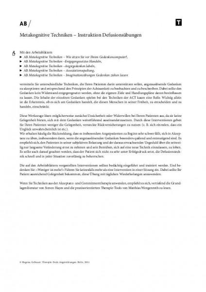 Metakognitive Techniken – Instruktion Defusionsübungen bei Angststörungen