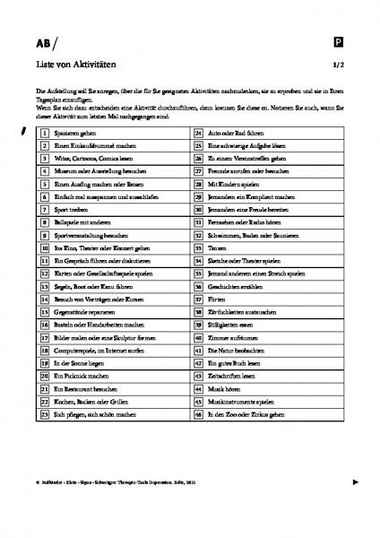Depression: Liste von Aktivitäten