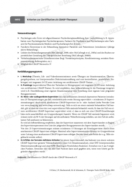 Kriterien zur Zertifizierung als CBASP-Therapeut