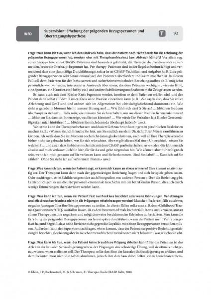 CBASP: Supervision: Erhebung der prägenden Bezugspersonen und Übertragungshypothese