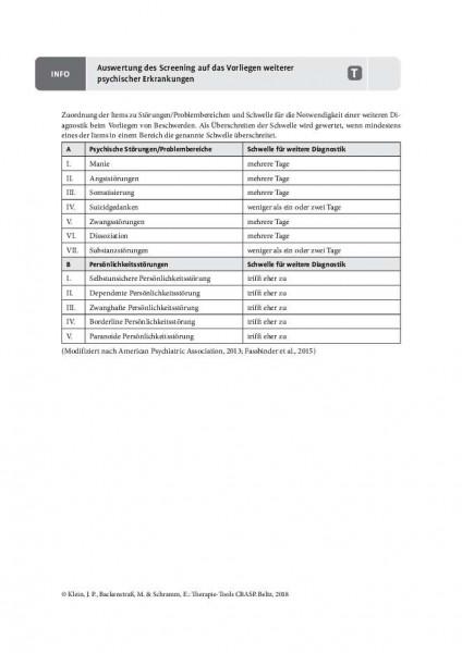 CBASP: Auswertung des Screenings auf das Vorliegen weiterer psychischer Störungen