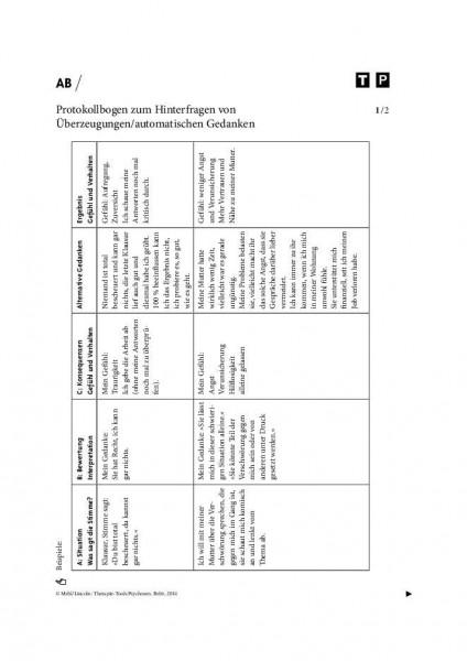 Psychosen: Protokollbogen zum Hinterfragen von Überzeugungen/automatischen Gedanken