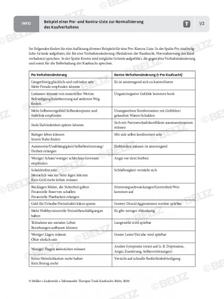 Kaufsucht: Beispiel einer Pro- und Kontra-Liste zur Normalisierung des Kaufverhaltens