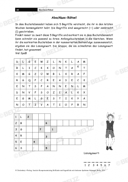 Abschluss-Rätsel und Lösung im Sozialen Kompetenztraining bei ASS