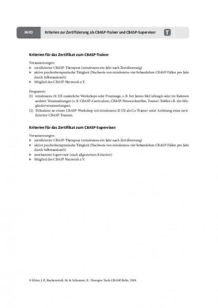 Kriterien zur Zertifizierung als CBASP-Trainer und CBASP-Supervisor