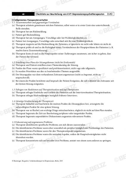 Checkliste zur Beurteilung von KVT-Depressionspsychotherapeuten