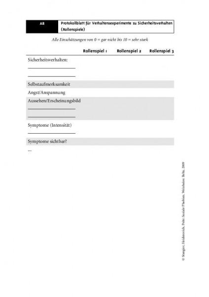 Protokollblatt für Verhaltensexperimente zu Sicherheitsverhalten (Rollenspiele) bei Sozialer Phobie