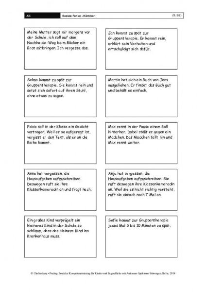 Soziale Fehler-Kärtchen im Sozialen Kompetenztraining bei ASS