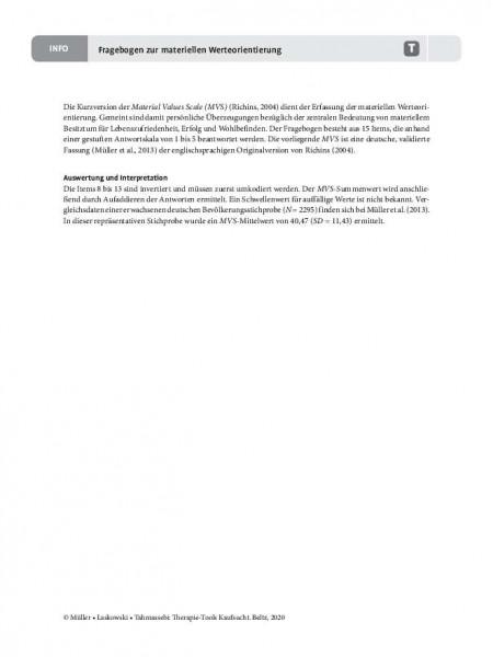 Kaufsucht: Fragebogen zur materiellen Werteorientierung