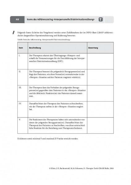 CBASP: Items des Adhärenzrating »Interpersonelle Diskriminationsübung« (IDÜ)