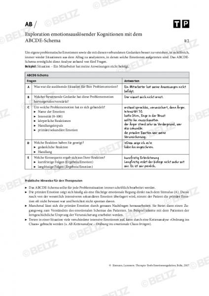 Emotionsregulation: Exploration emotionsauslösender Kognitionen mit dem ABCDE-Schema
