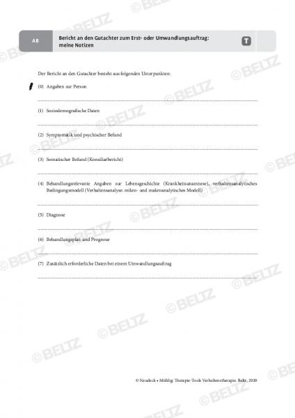 Verhaltenstherapie: Bericht an den Gutachter zum Erst- oder Umwandlungsauftrag: meine Notizen