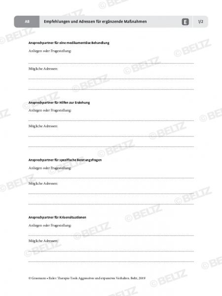 Aggression: Empfehlungen und Adressen für ergänzende Maßnahmen
