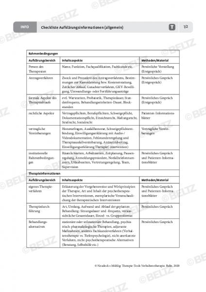 Verhaltenstherapie: Checkliste Aufklärungsinformationen (allgemein)