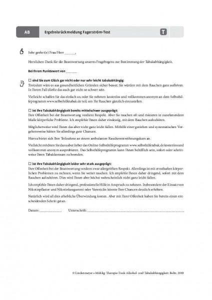 Tabakabhängigkeit: Ergebnisrückmeldung Fagerström-Test