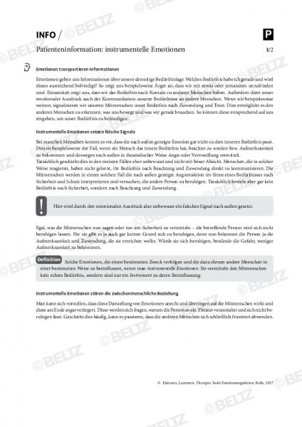Emotionsregulation: Patienteninformation zu instrumentellen Emotionen