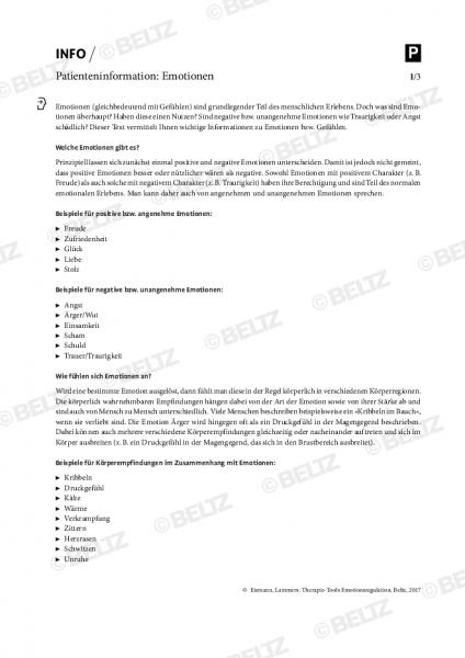 Emotionsregulation: Patienteninformation zu Emotionen
