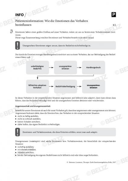 Emotionsregulation: Patienteninformation »Wie die Emotionen das Verhalten beeinflussen«