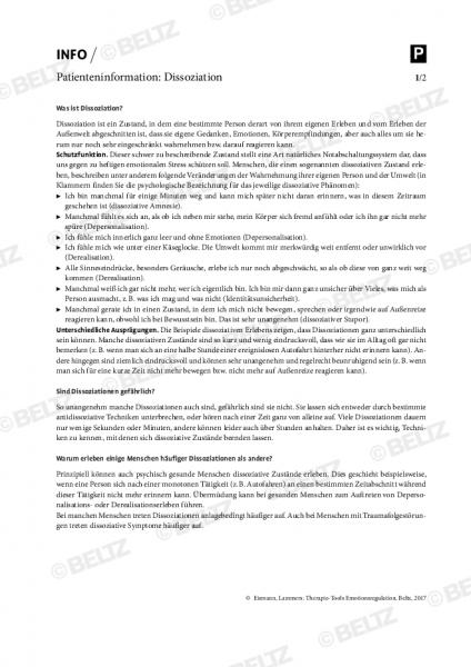 Emotionsregulation: Patienteninformation zu Dissoziation