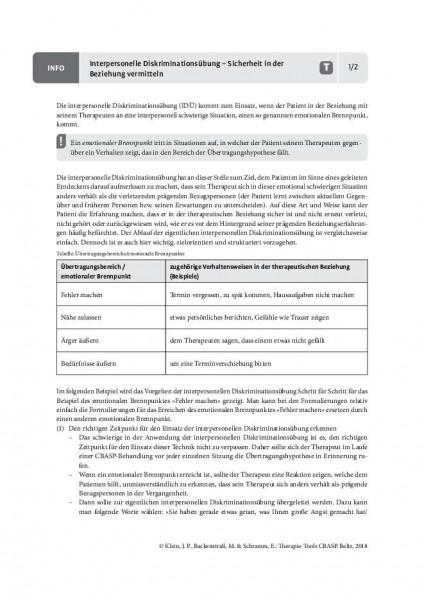 CBASP: Interpersonelle Diskriminationsübung – Sicherheit in der Beziehung vermitteln