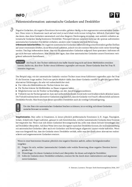 Emotionsregulation: Patienteninformation zu automatischen Gedanken und Denkfehlern