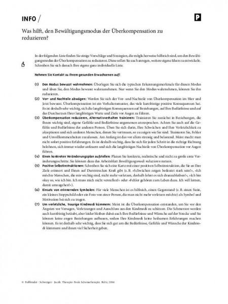 Schematherapie: Was hilft, den Bewältigungsmodus der Überkompensation zu reduzieren?