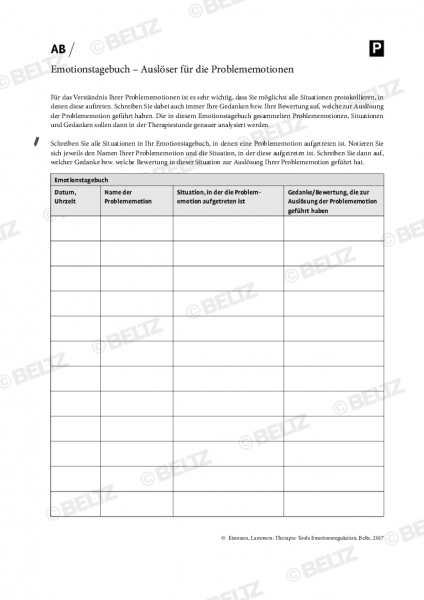 Emotionsregulation: Emotionstagebuch – Auslöser für die Problememotionen