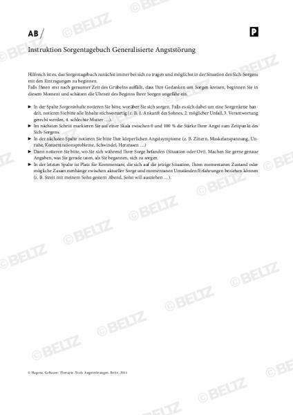 Instruktion Sorgentagebuch Generalisierte Angststörung