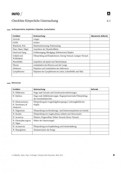 Depression: Checkliste Körperliche Untersuchung