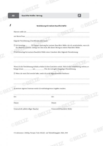 Tabakabhängigkeit: Vertrag Rauchfrei-Helfer