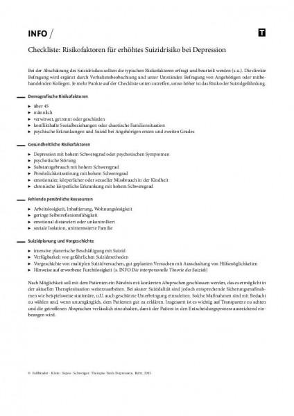 Checkliste: Risikofaktoren für erhöhtes Suizidrisiko bei Depression