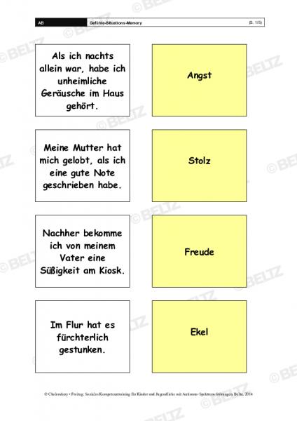 Gefühle-Situations-Memory im Sozialen Kompetenztraining bei ASS