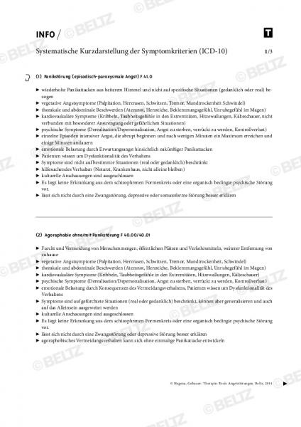 Systematische Kurzdarstellung der Symptomkriterien von Angststörungen nach ICD-10