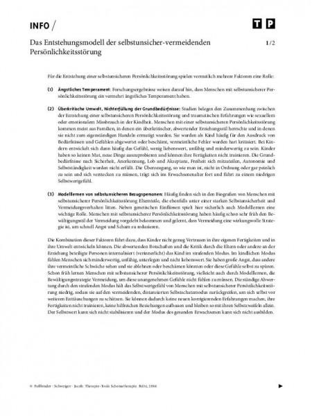 Schematherapie: Das Entstehungsmodell der selbstunsicher-vermeidenden Persönlichkeitsstörung