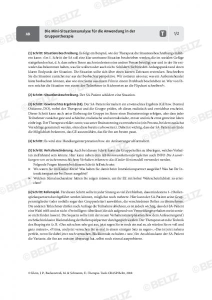 CBASP: Die Mini-Situationsanalyse für die Anwendung in der Gruppentherapie