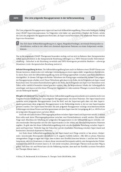CBASP: Die Liste prägender Bezugspersonen in der Selbstanwendung
