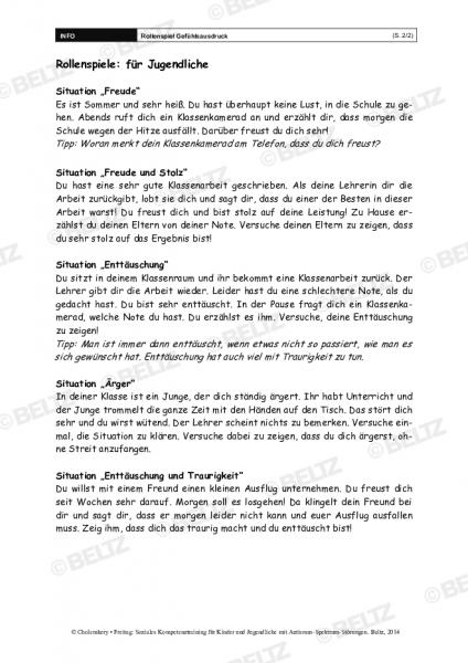 Rollenspiel »Gefühlsausdruck« im Sozialen Kompetenztraining bei ASS