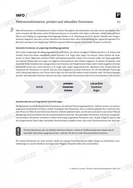 Emotionsregulation: Patienteninformation zu primären und sekundären Emotionen