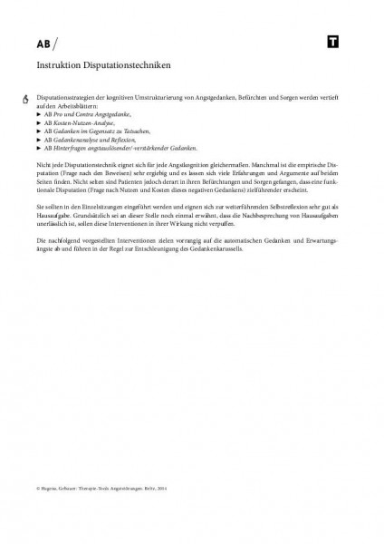 Angststörungen: Instruktion Disputationstechniken